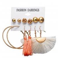 E1234 - Spiral Large Tassel Earring Set