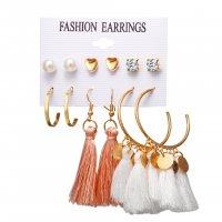 E1235 - Love Circle Sequin Tassel Earring Set