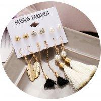 E1237 - Pearl Leaf Tassel Earring Set