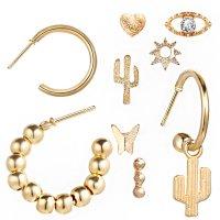 E1249 - Beauty Cactus Eye Combination Earrings Set