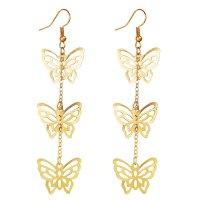 E1251 - Hollow Butterfly Pendant Gold Earrings