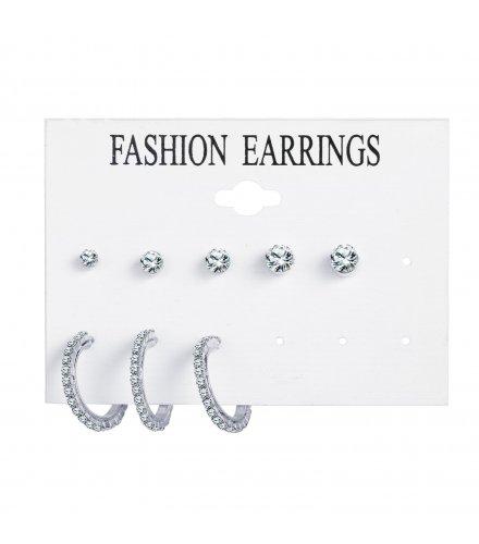 E1259 - Retro simple metal earrings Set