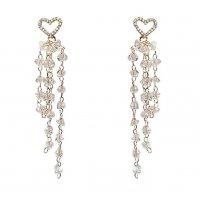 E1260 - Korean Retro Temperament Love Crystal Long Tassel Earrings