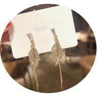 E1265 - Simple Leaf Tassel Earrings
