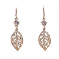 E1271 - Zircon crystal leaf tassel earrings