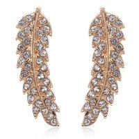E1278 - Leaf Rhinestone Earrings