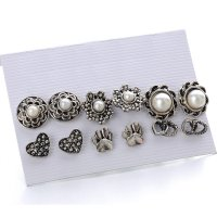 E1280 - Retro pearl flower 6 pairs of earring