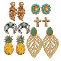 E1292 - Leaf Flower Bohemian Stud Earring Set