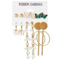 E1295 - Butterfly pearl earrings set of 6