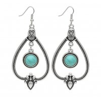 E1298 - Retro Hollow Inlaid Turquoise Drop Earrings
