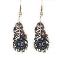 E1303 - Gemstone peacock feather earring