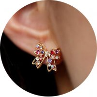 E1304 - Korean diamond-studded bow Earrings