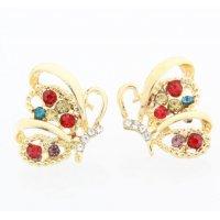E1305 - Diamond-studded butterfly earrings