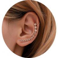 E1309 - Five-pointed star retro metal Cuff earrings