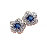 E485 -Silver and blue flowers crystal earrings
