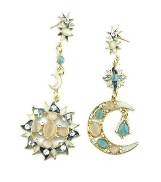 e513 irregular sun and moon earrings sri lanka