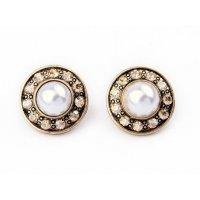 E526 - Retro big round pearl diamond earrings