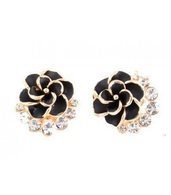 E578 - Peony camellia earrings