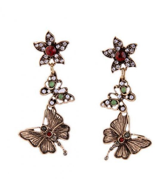 E606 - Butterfly Flower Earrings