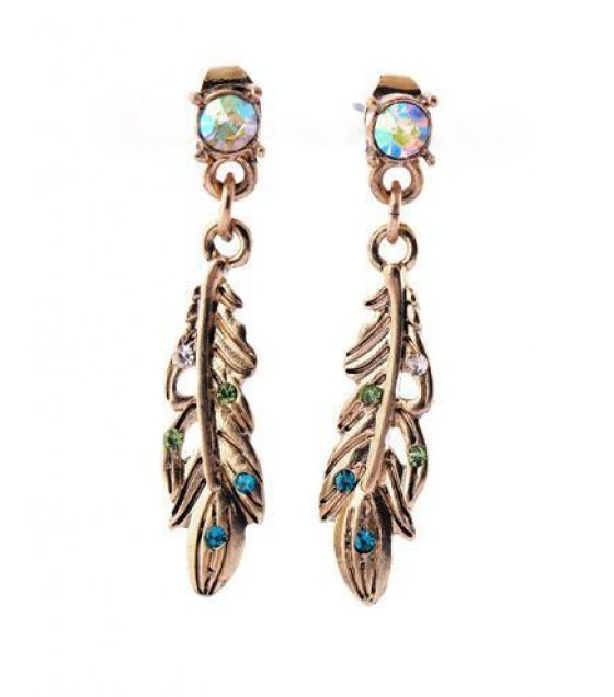 E618 - Diamond Feather Earrings