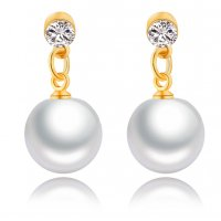 E800 - Imitation pearl earrings with ear stud earrings