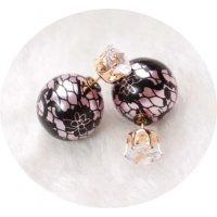E804 - Pearl zircon double-sided stud earrings