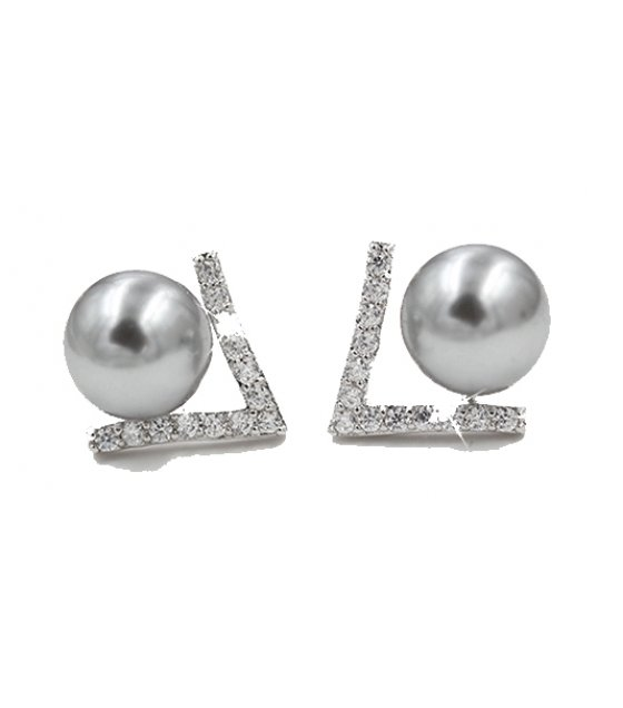 E810 - Simple pearl geometric earrings