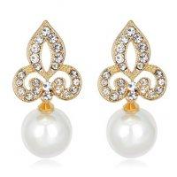 E813 - Gold diamond flower pearl earrings