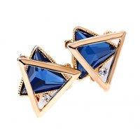 E844 - Triangle square geometric crystal earrings