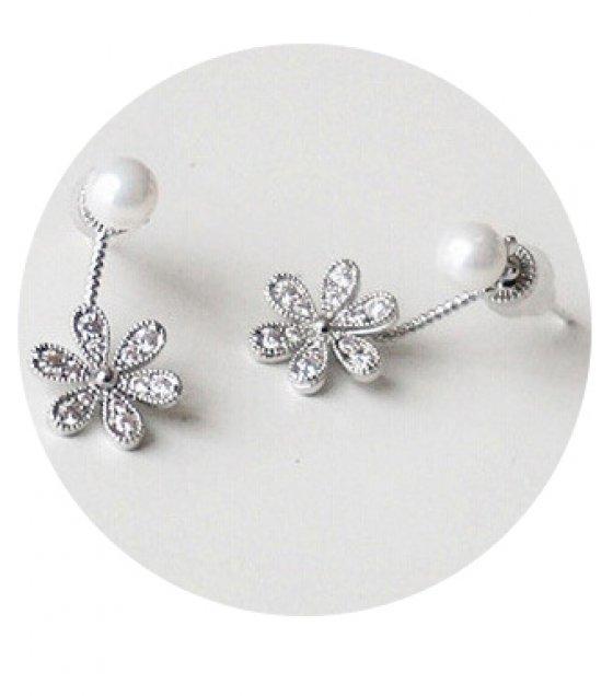 E849 - Six-leaf clover diamond pearl earrings
