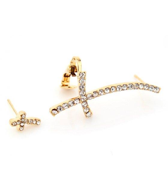 E853 - Cross diamond clip earrings