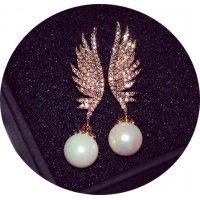 E859 - Asymmetrical Wings Pearl Earrings