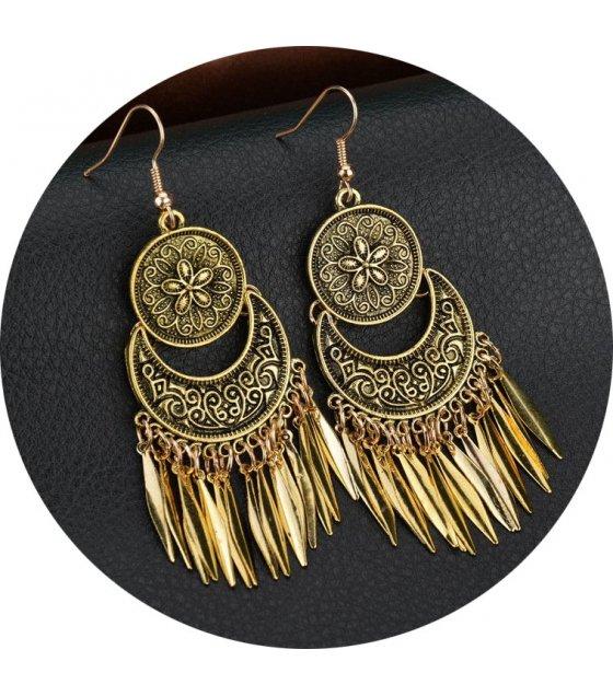 E902 - Flower tassel round earrings
