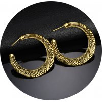 E939 - Hollow carved semi-circle fashion earrings