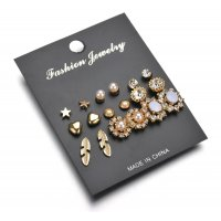 E941 - Star leaves small earrings set