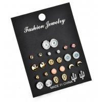E943 - Cactus rhinestones pearl earrings set