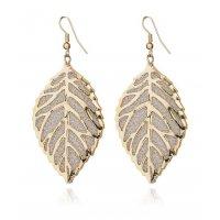E956 - Hollow pierced metal leaf earrings