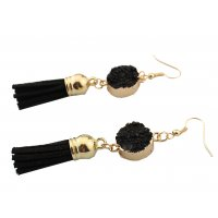 E959 - Stone tassel pendant earrings