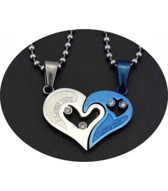 GC016 - Blue heart lovers Necklace