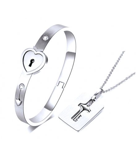 GC206 - Silver Stainless Steel Bracelet Love Heart Lock Bangle