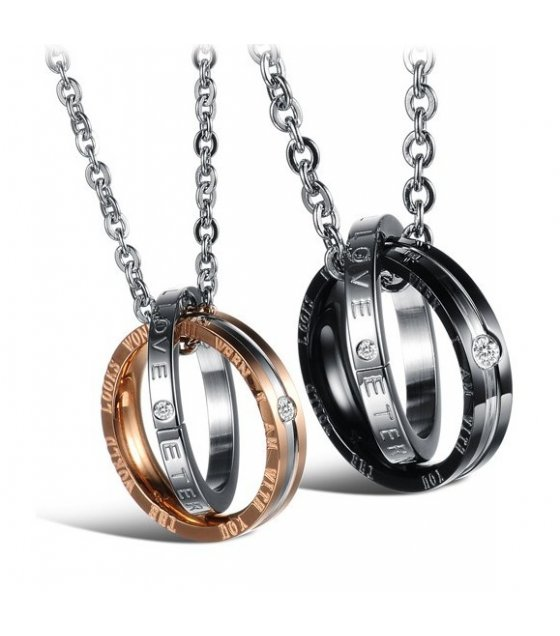 GC211 - His & Her Stainless Steel Love Engrave Couple Rings Necklaces