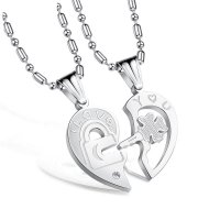 GC212 - Necklace His and Her Heart Key Matching Pendant Puzzle Couples Necklace