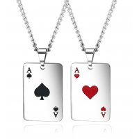 GC216 - Titanium Hearts and spades Couple Necklace