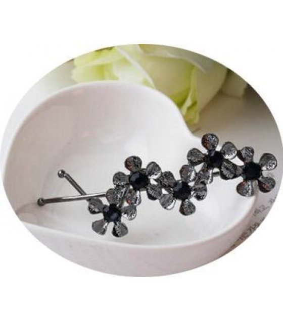 HA021 - Black Flora Hair Pin