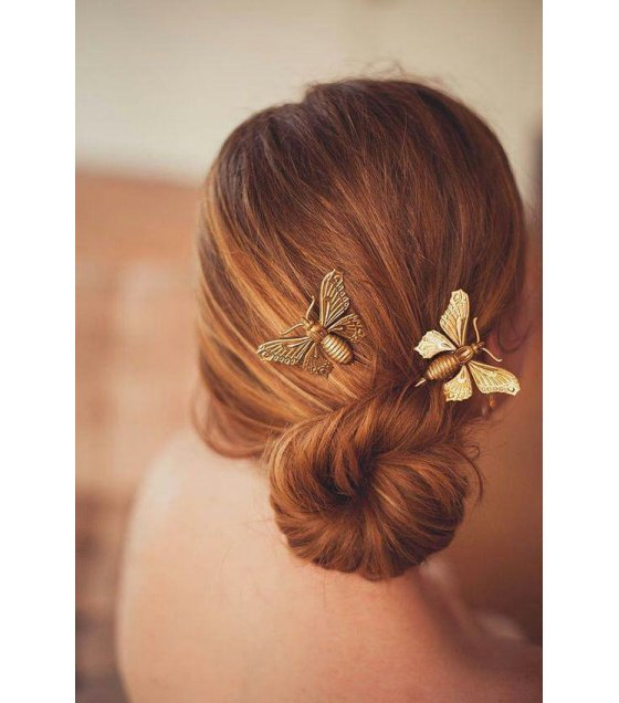 HA043 - Gold Butterfly Hair Pin