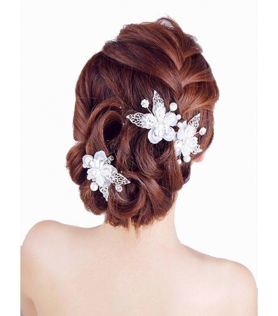 HA063 - Rhinestone pearl flower leaves headdress