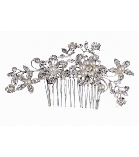 HA064 - Bridal diamond pearl headdress