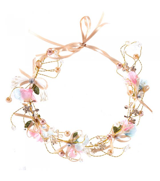 HA100 - Flower wreath bridesmaid hair band