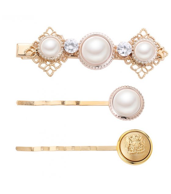 HA109 - Crown pearl Three Piece Hair clip