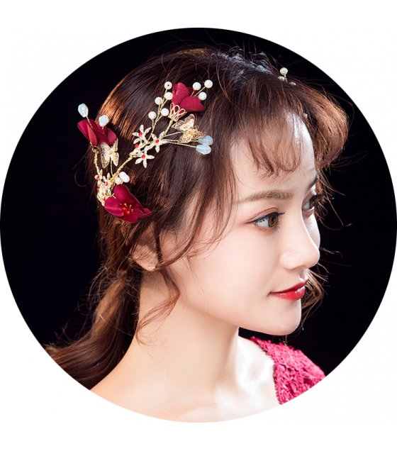 HA110 - Flower crystal bride hair clip